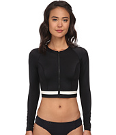 DKNY - Crop Rashguard w/ Zipper Front Cover-Up