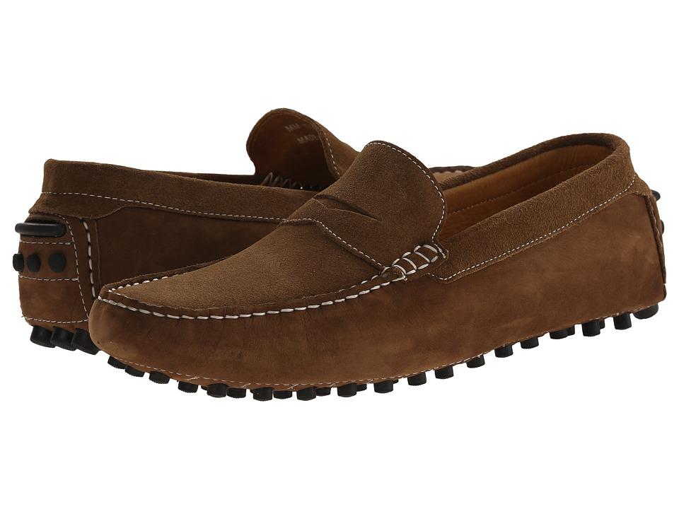 Massimo Matteo - Suede Nubuck Penny (Castor) Mens Slip on  Shoes