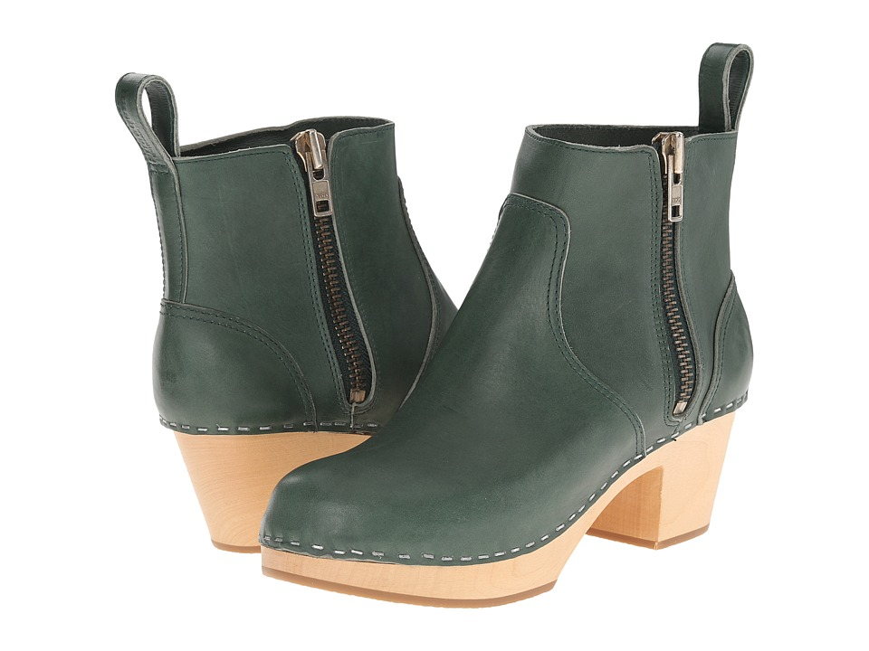 Swedish Hasbeens Zip It Emy (Deep Green) Women