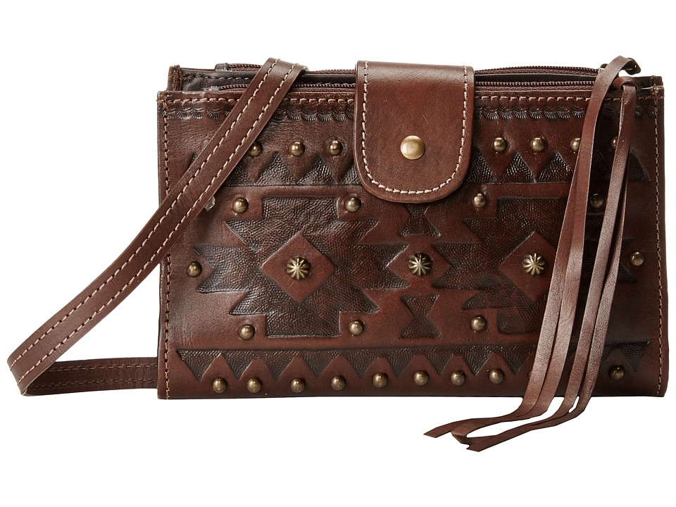 American West - Chippewa Fold-Over Wallet/Crossbody (Earth Brown) Cross Body Handbags