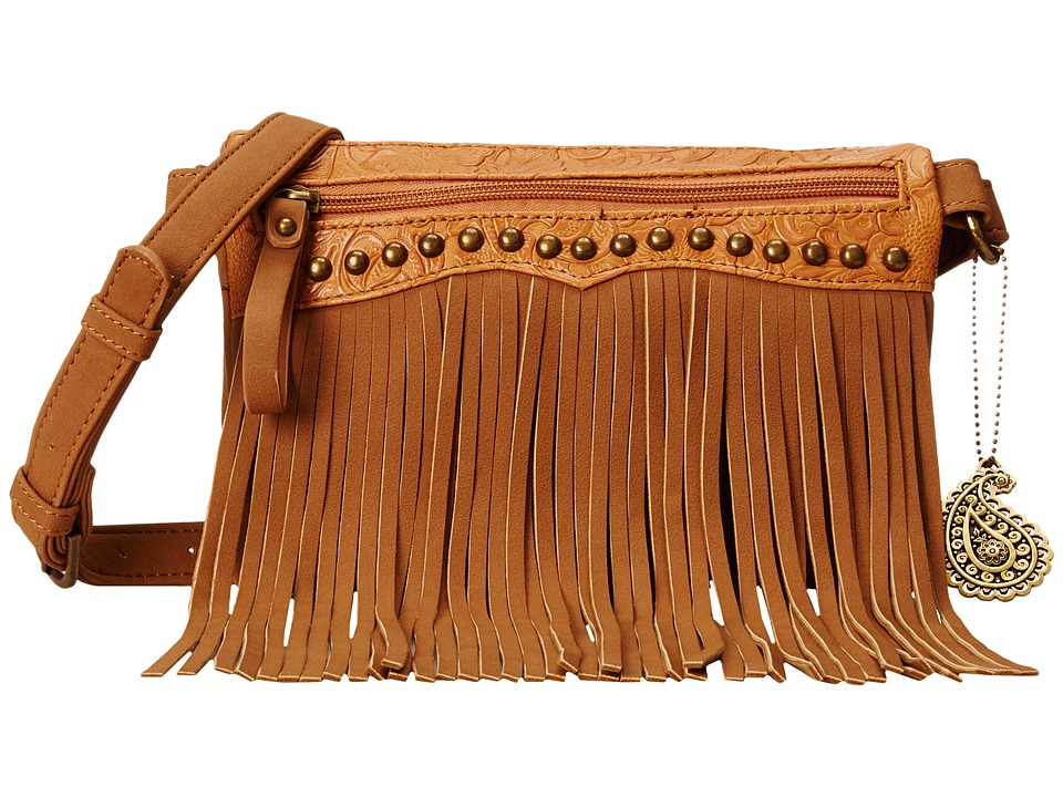American West - Sun Valley Fringe Crossbody/Wallet (Tan/Embossed Tan) Cross Body Handbags