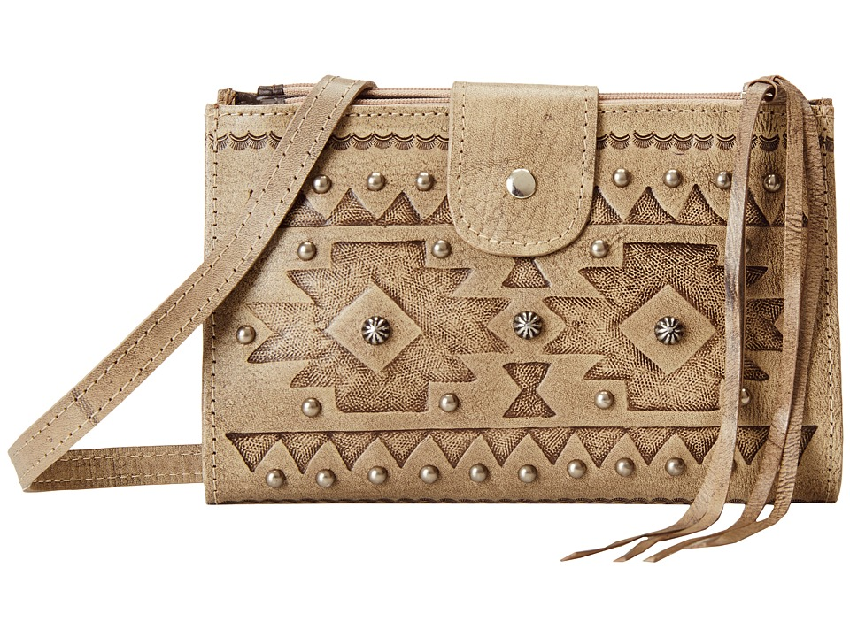 American West - Chippewa Fold-Over Wallet/Crossbody (Sand) Cross Body Handbags