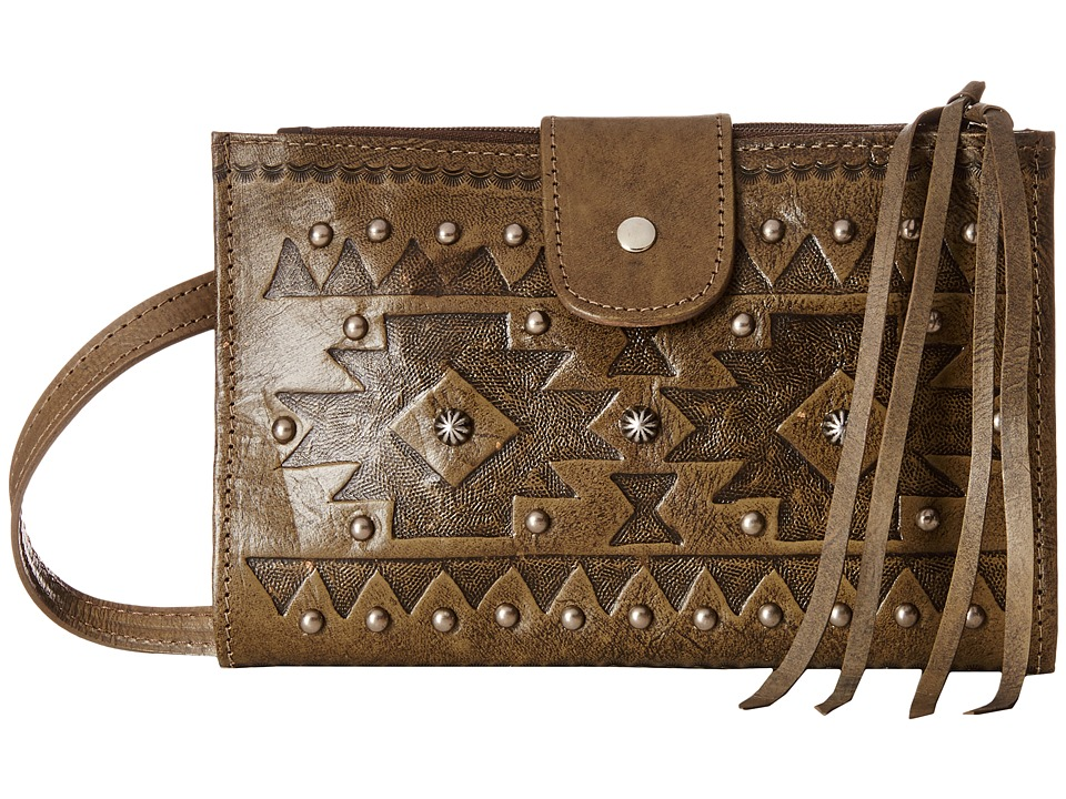 American West - Chippewa Fold-Over Wallet/Crossbody (Avocado) Cross Body Handbags
