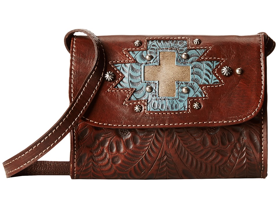 American West - Gameday Small Crossbody Bag (Earth Brown/Distressed Sky Blue/Sand) Cross Body Handbags