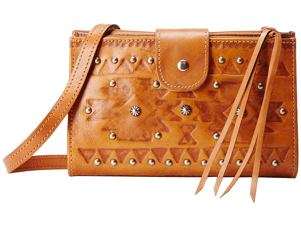 American West - Chippewa Fold-Over Wallet/Crossbody (Golden Tan) Cross Body Handbags