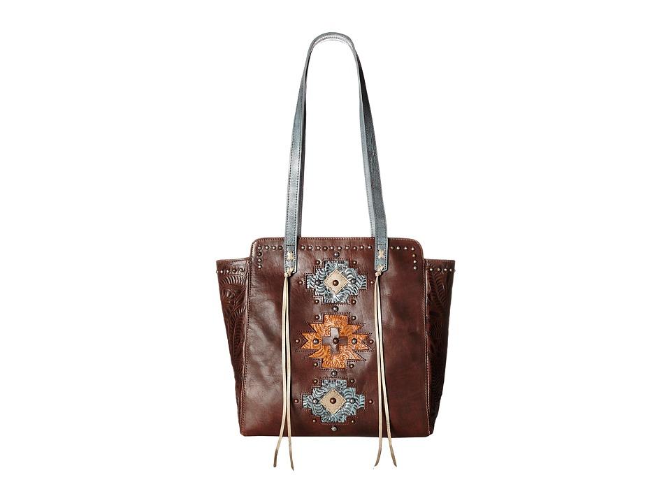 American West Navajo Soul Zip Top Tote Earth Brown/Distressed Sky Blue/Golden Tan/Sand Tote Handbags