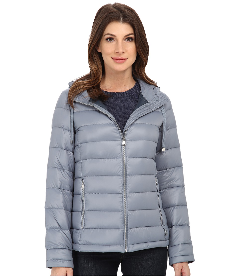 Calvin Klein Short Packable Down Coat w/ Horizontal Quilt...
