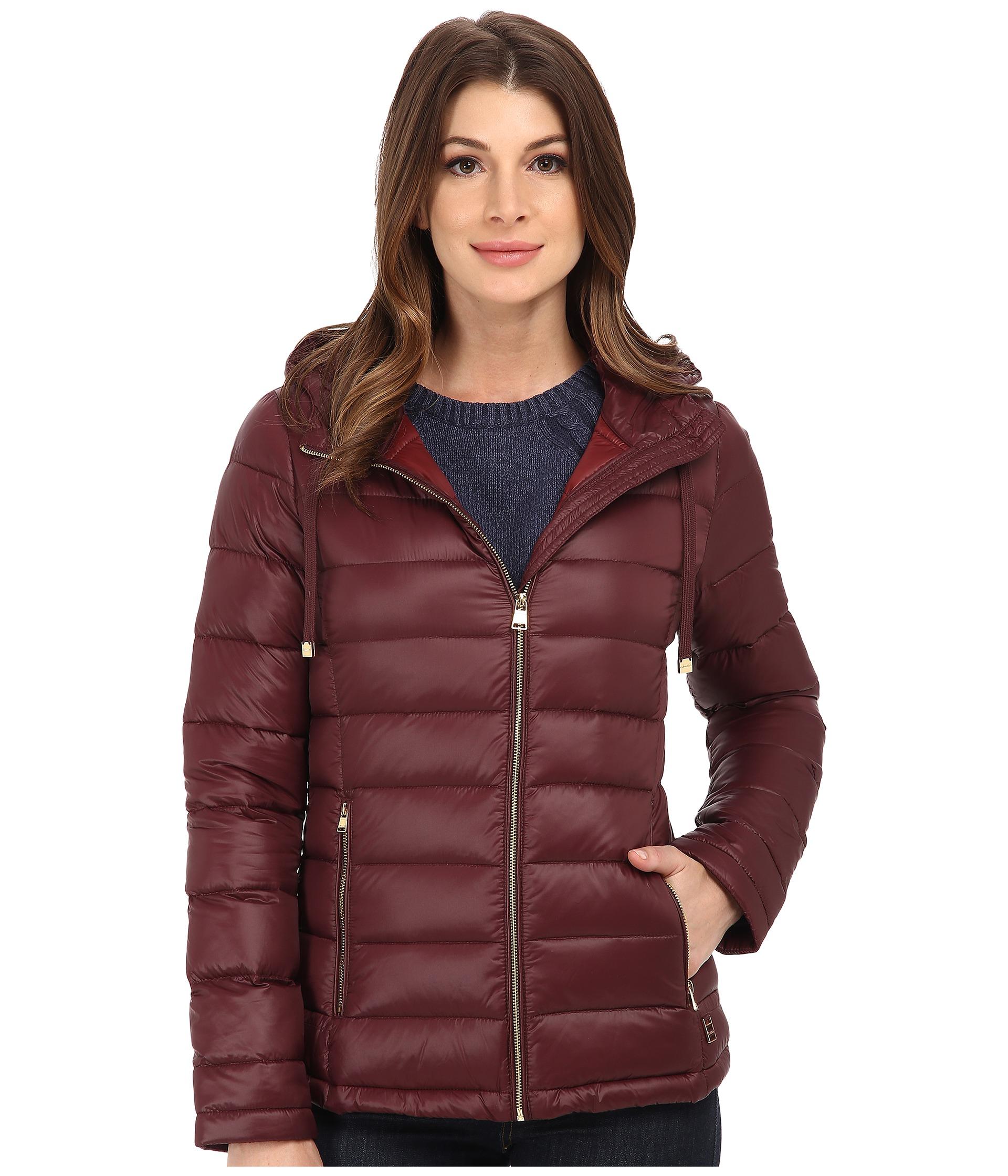 Calvin Klein Short Packable Down Coat w/ Horizontal Quilt Pattern