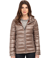 Calvin Klein - Short Packable Down Coat w/ Horizontal Quilt Pattern