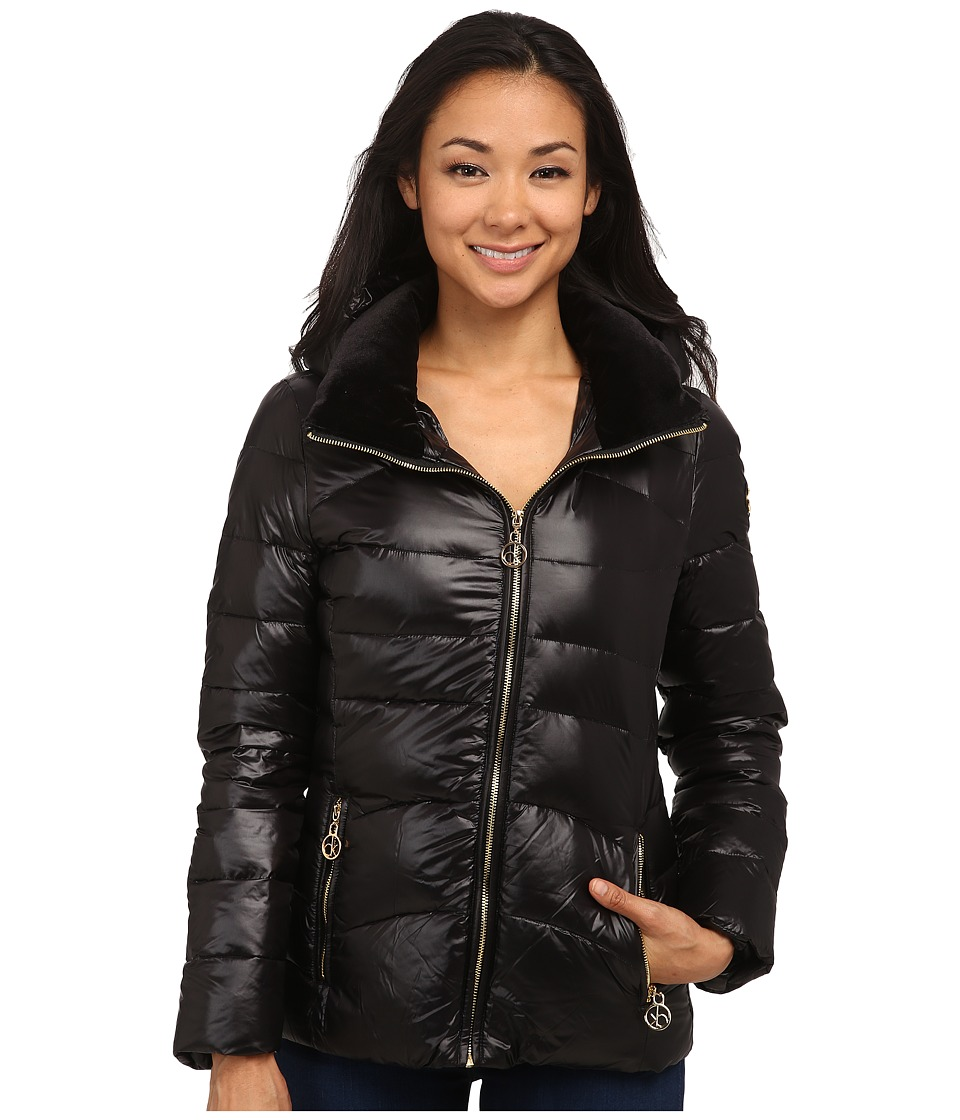 Calvin Klein Short Down Coat w/ Gold Hardware (Black) Women