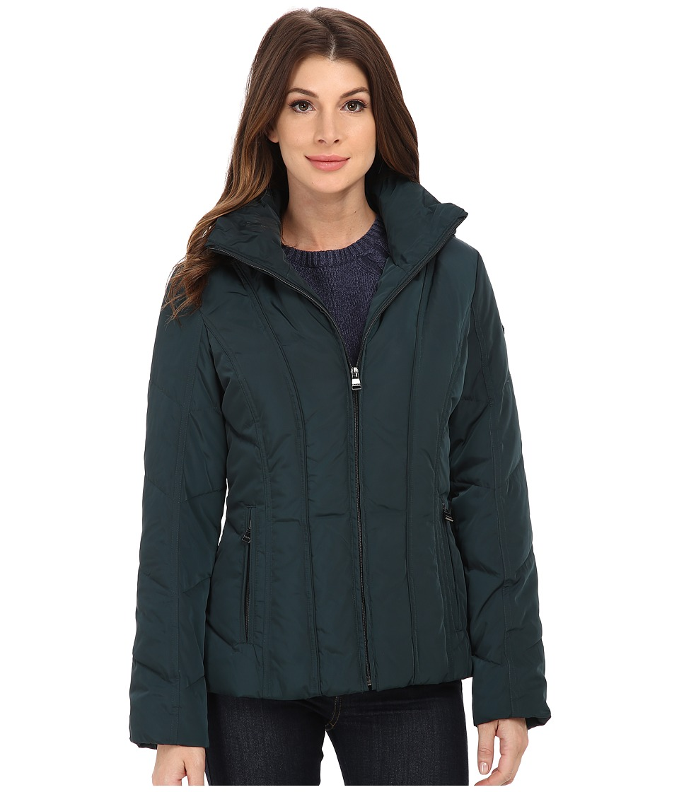 Calvin Klein - Short Down Coat w/ Untrimmed Hood (Peacock) Women