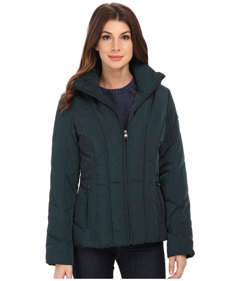 Calvin Klein - Short Down Coat w/ Untrimmed Hood (Peacock) Womens Coat