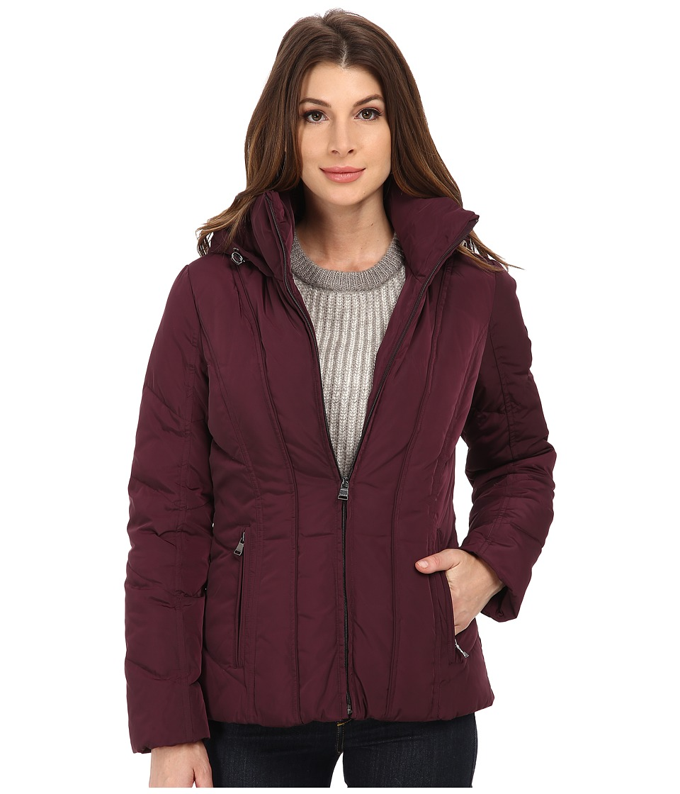 Calvin Klein - Short Down Coat w/ Untrimmed Hood (Black/Plum) Women