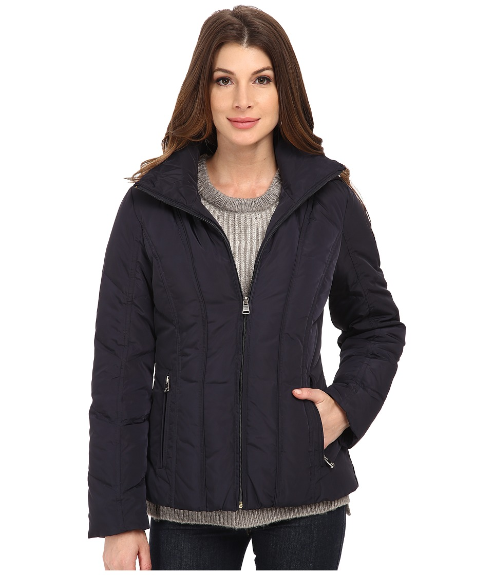Calvin Klein - Short Down Coat w/ Untrimmed Hood (Navy) Women