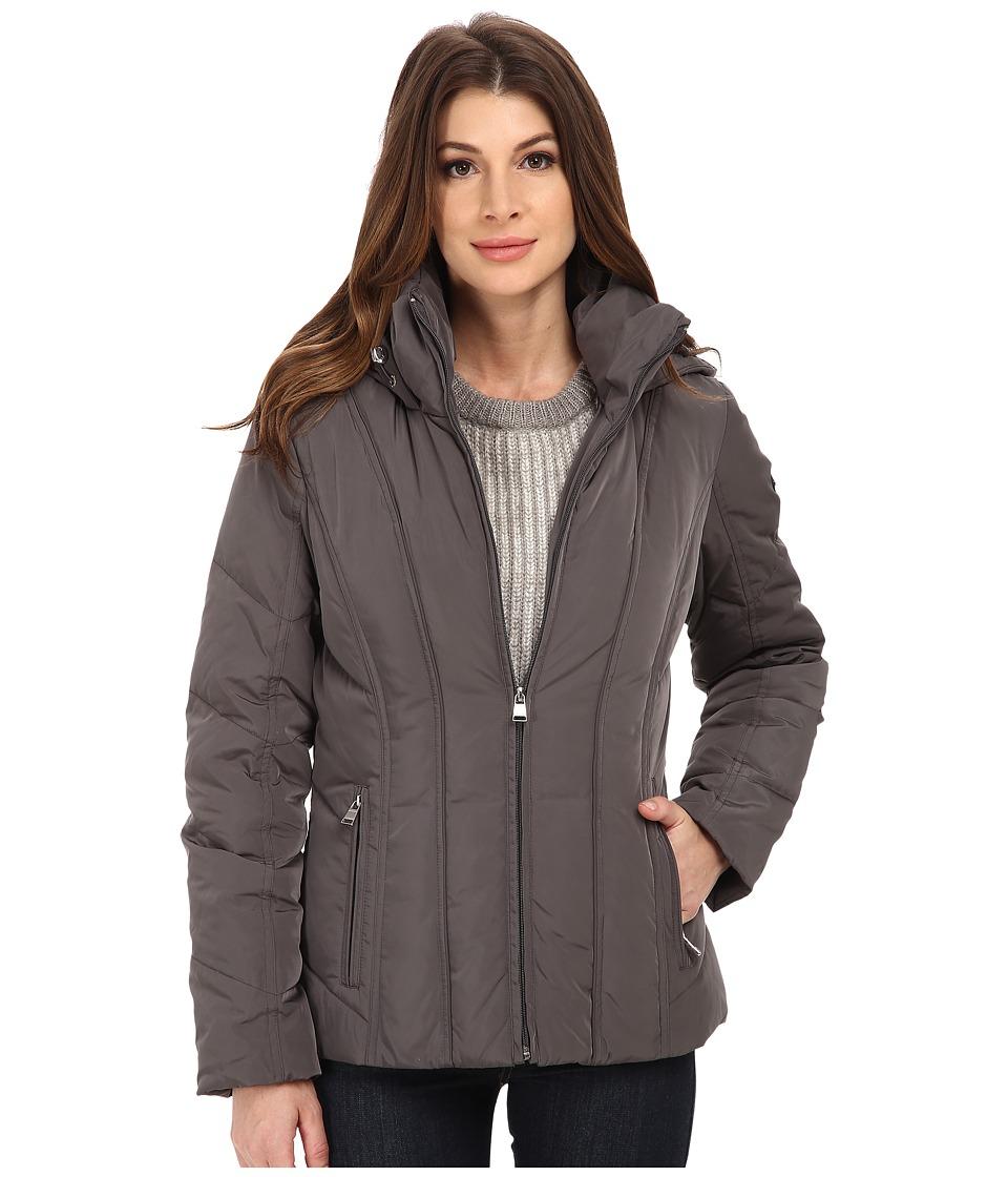 Calvin Klein Short Down Coat w/ Untrimmed Hood (Titanium) Women