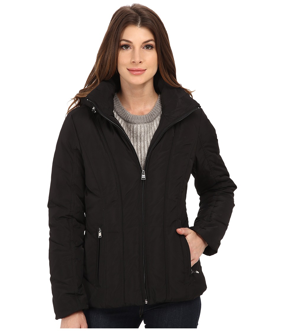 Calvin Klein Short Down Coat w/ Untrimmed Hood (Black) Women