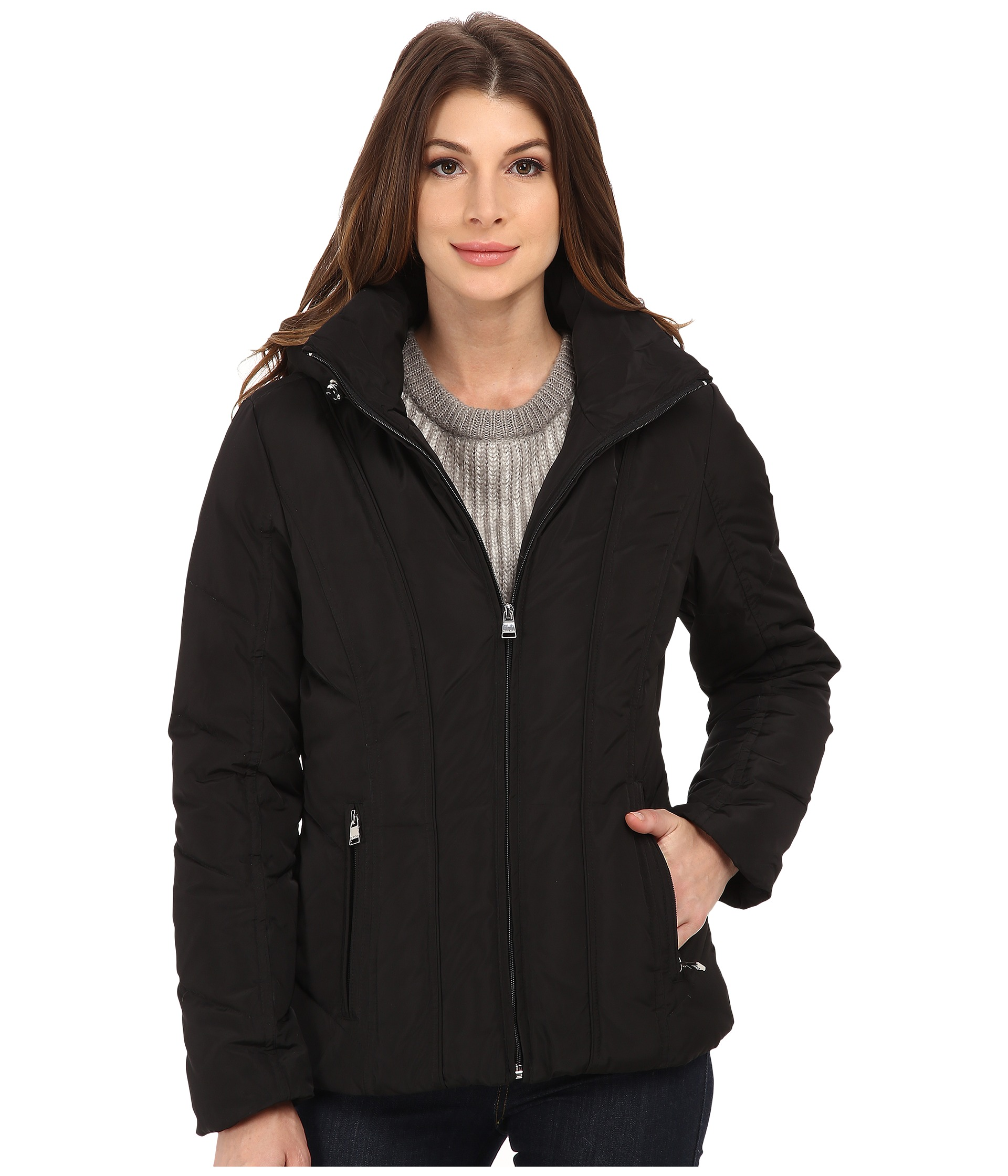 Calvin Klein Short Down Coat w/ Untrimmed Hood - Zappos.com Free ...