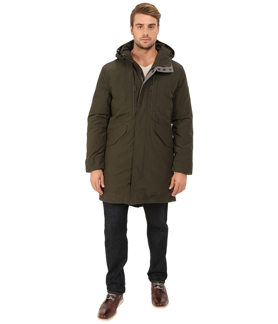 Cole Haan - Down Military Parka w/ Faux Leather Trim (Fatigue) Men