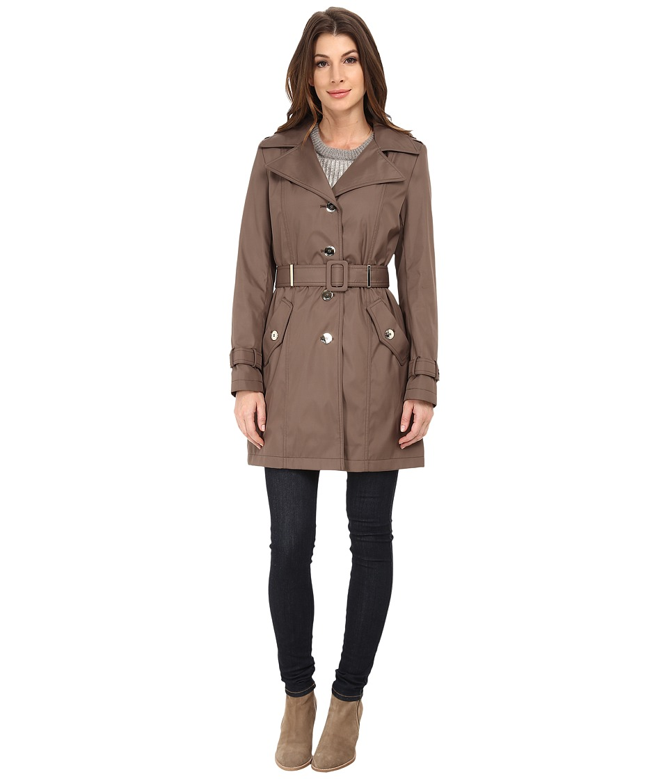 Calvin Klein Single Breasted Coat w/ Hardware Detail Truffle Womens Coat