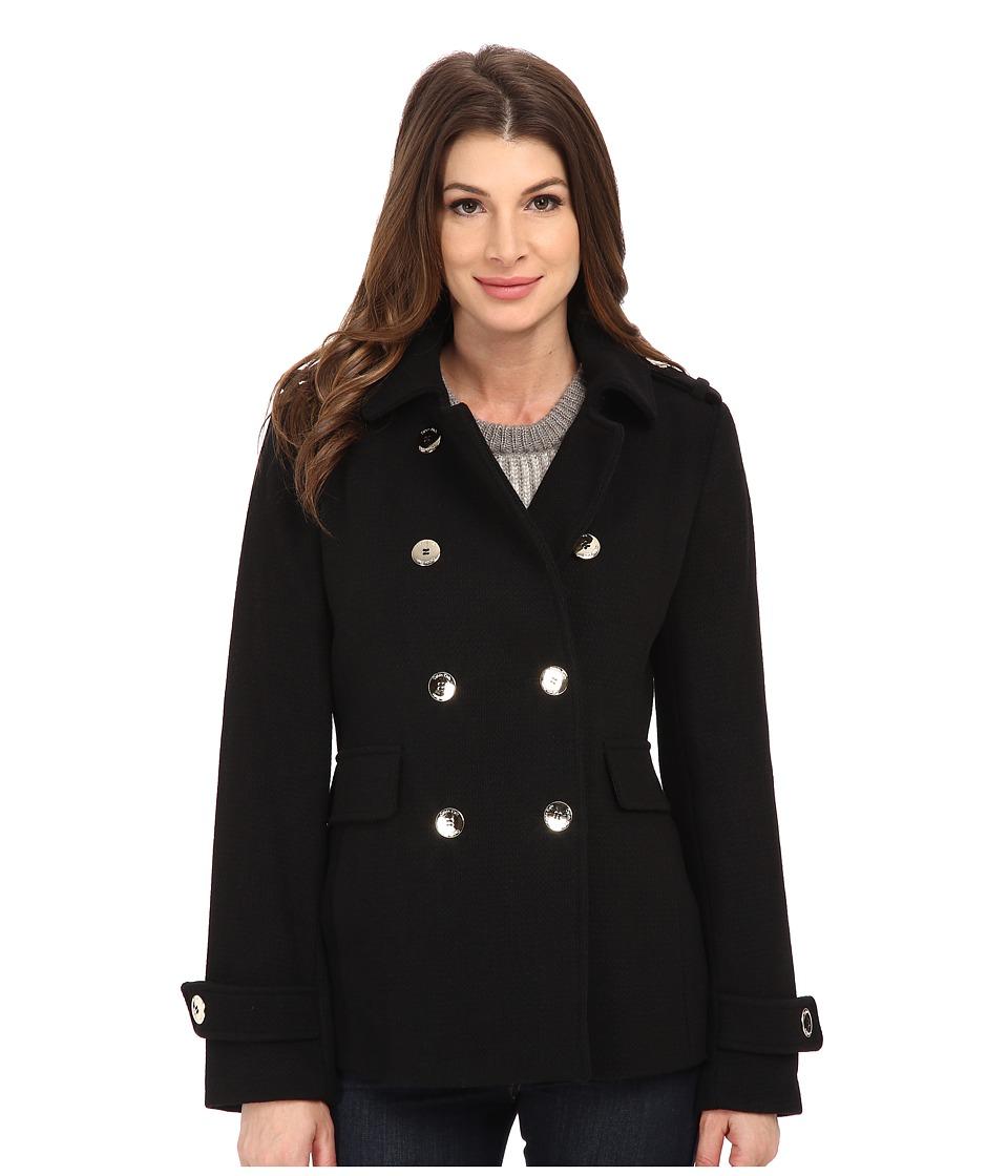 Calvin Klein Double Breasted Wool Coat (Black) Women's Coat