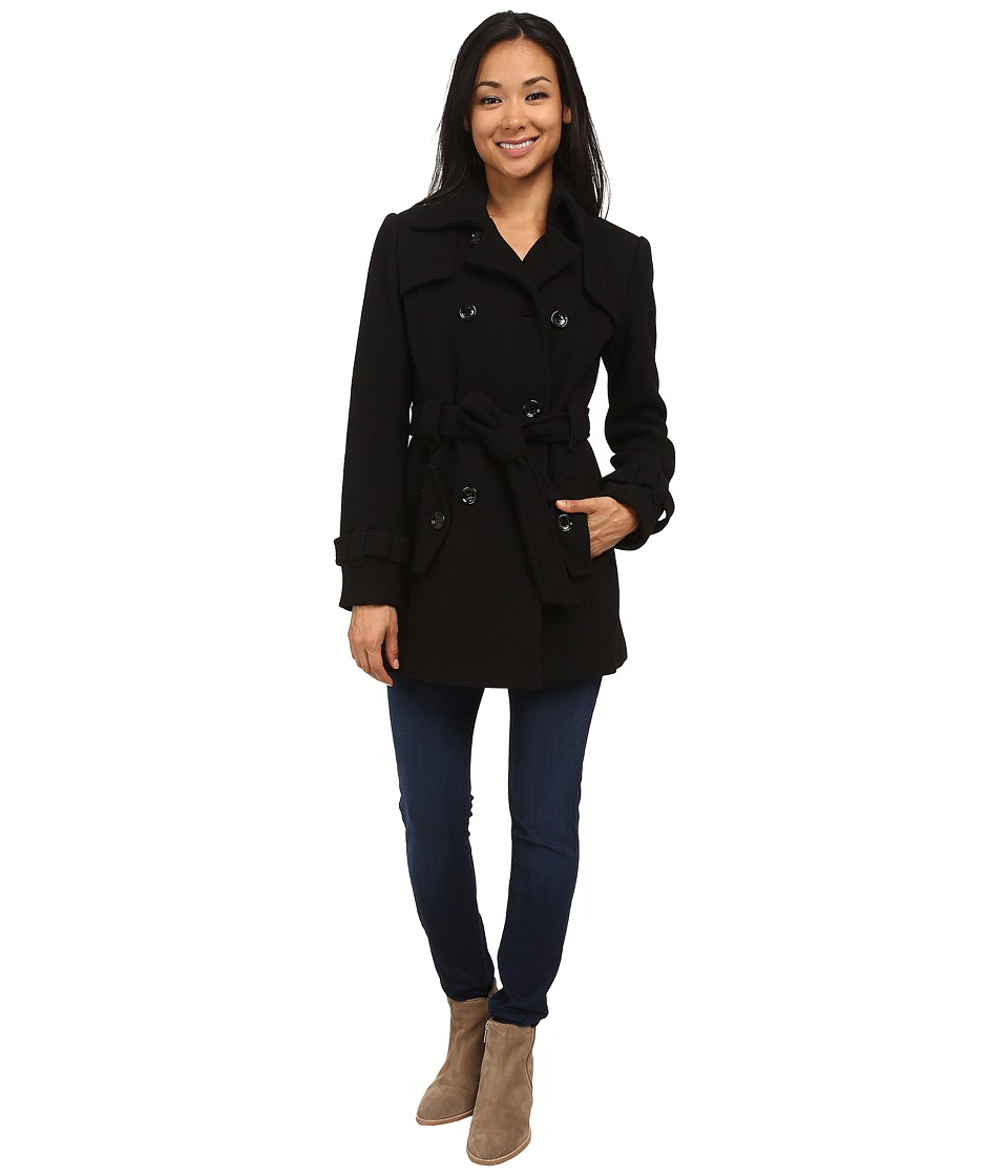 Calvin Klein - Double Breasted Belted Wool Trench Coat (Black) Women's Coat