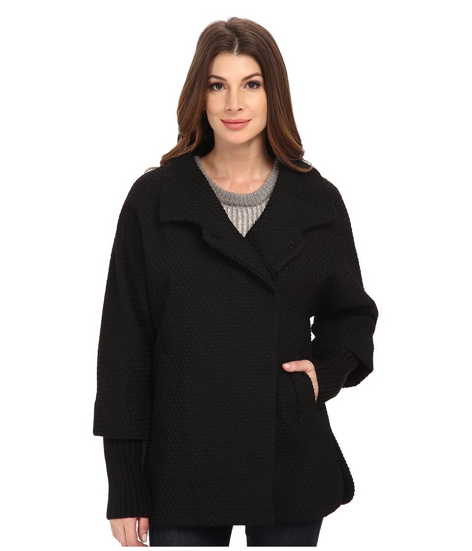 Calvin Klein - Asymmetrical One Button Coat w/ Knit Sleeve (Black Basket) Womens Coat
