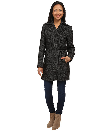 Calvin Klein Wool Belted Coat w/ Asymmetrical Zipper
