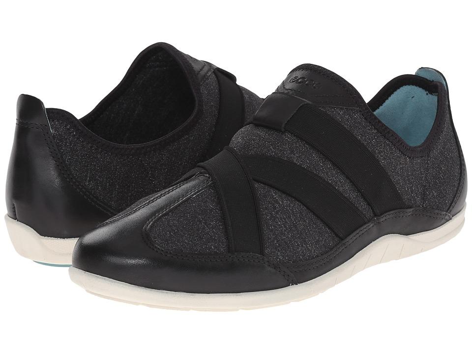 ECCO Bluma Slip On Black/Black/White Womens Slip on Shoes
