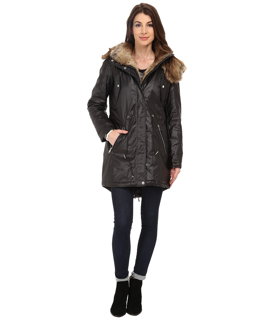 Marc New York by Andrew Marc Lauren 35 Utility Rain Anorak Black Womens Coat