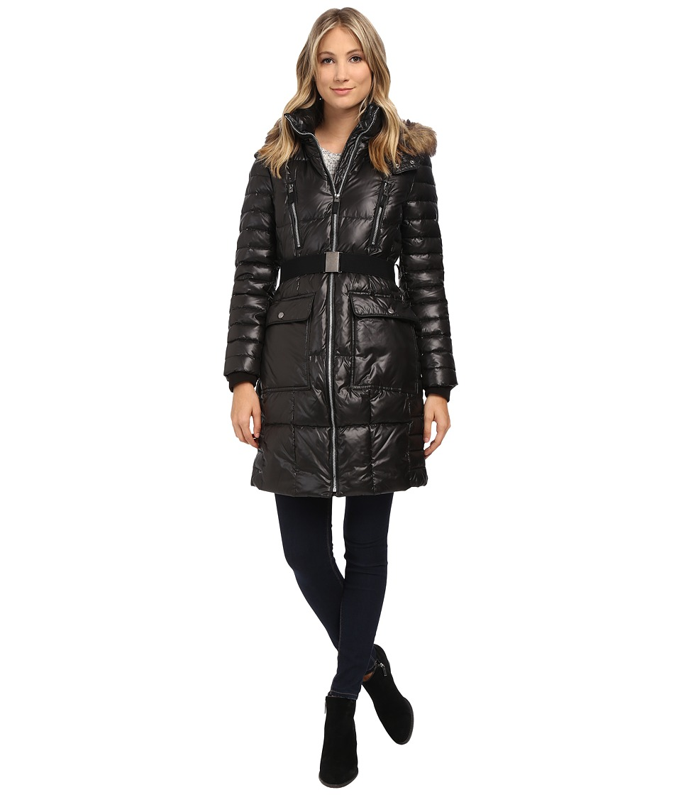Marc New York by Andrew Marc Addy 37 Block Puffer w/ Belt and Faux Fur Hood Black Womens Coat