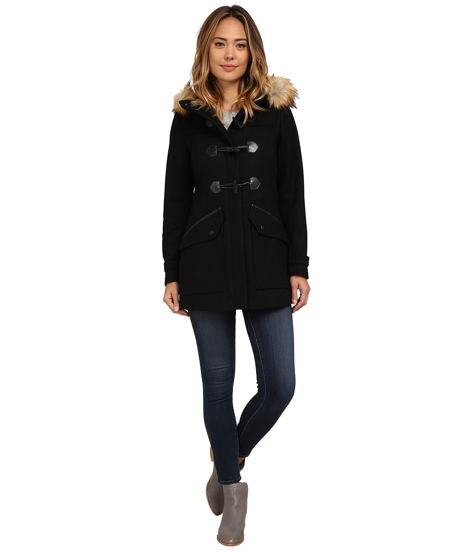 Marc New York by Andrew Marc Cara 30 Pressed Wool Toggle w/ Faux Fur Hood Black Womens Coat