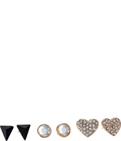 GUESS - Pearl, Triangle, Pave Heart Button Trio Earrings Set