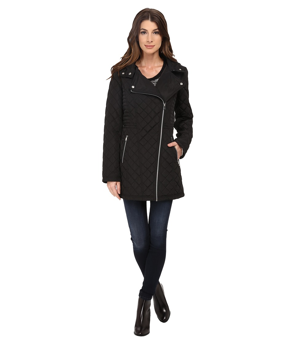 Jessica Simpson Asymmetrical Zip Quilt with Hood Black Womens Clothing