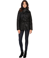 Jessica Simpson - Faux Leather Zip Front and Snap Quilt Belted Jacket