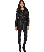 Jessica Simpson - Long Faux Leather Moto Jacket with Faux Shearling