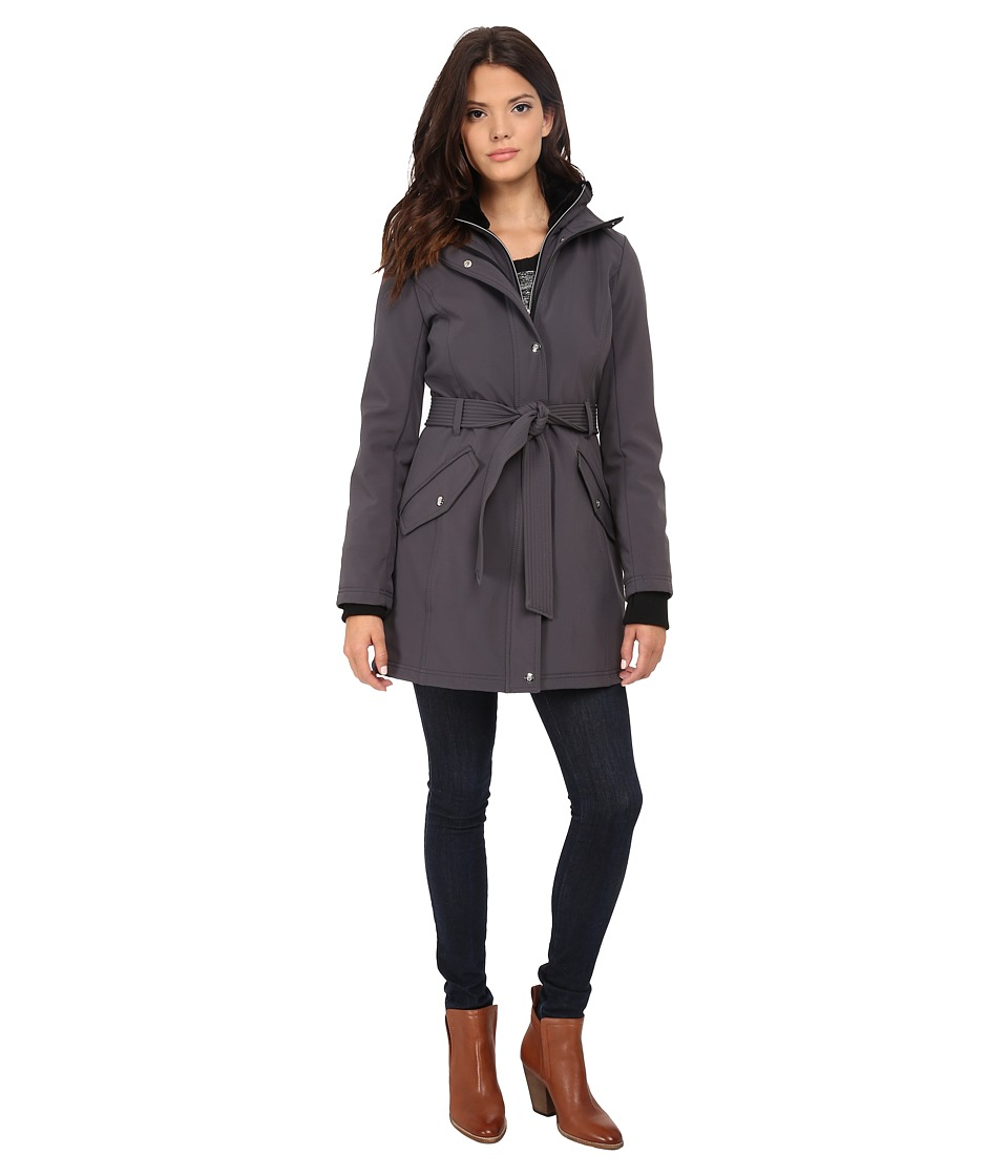 Jessica Simpson Long Zip Front Soft Shell with Belt Grey Womens Clothing