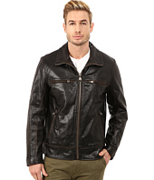 Marc New York by Andrew Marc - Waverly Distressed Buffalo Trucker Jacket w/ Chest Zipper Pockets