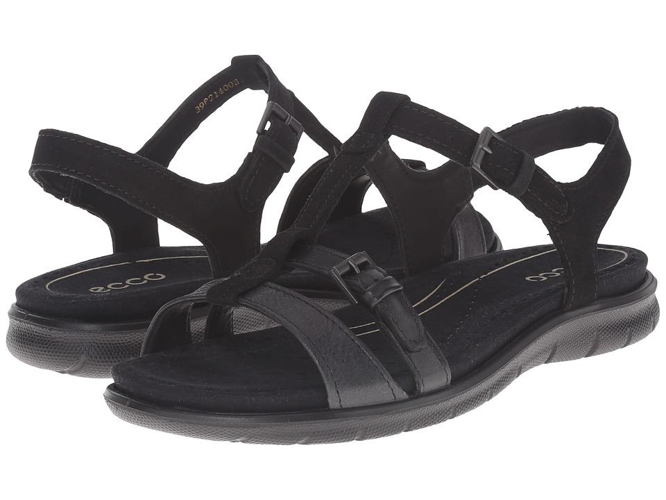 ECCO Babette Sandal T Strap Black/Black 1 Womens Sandals
