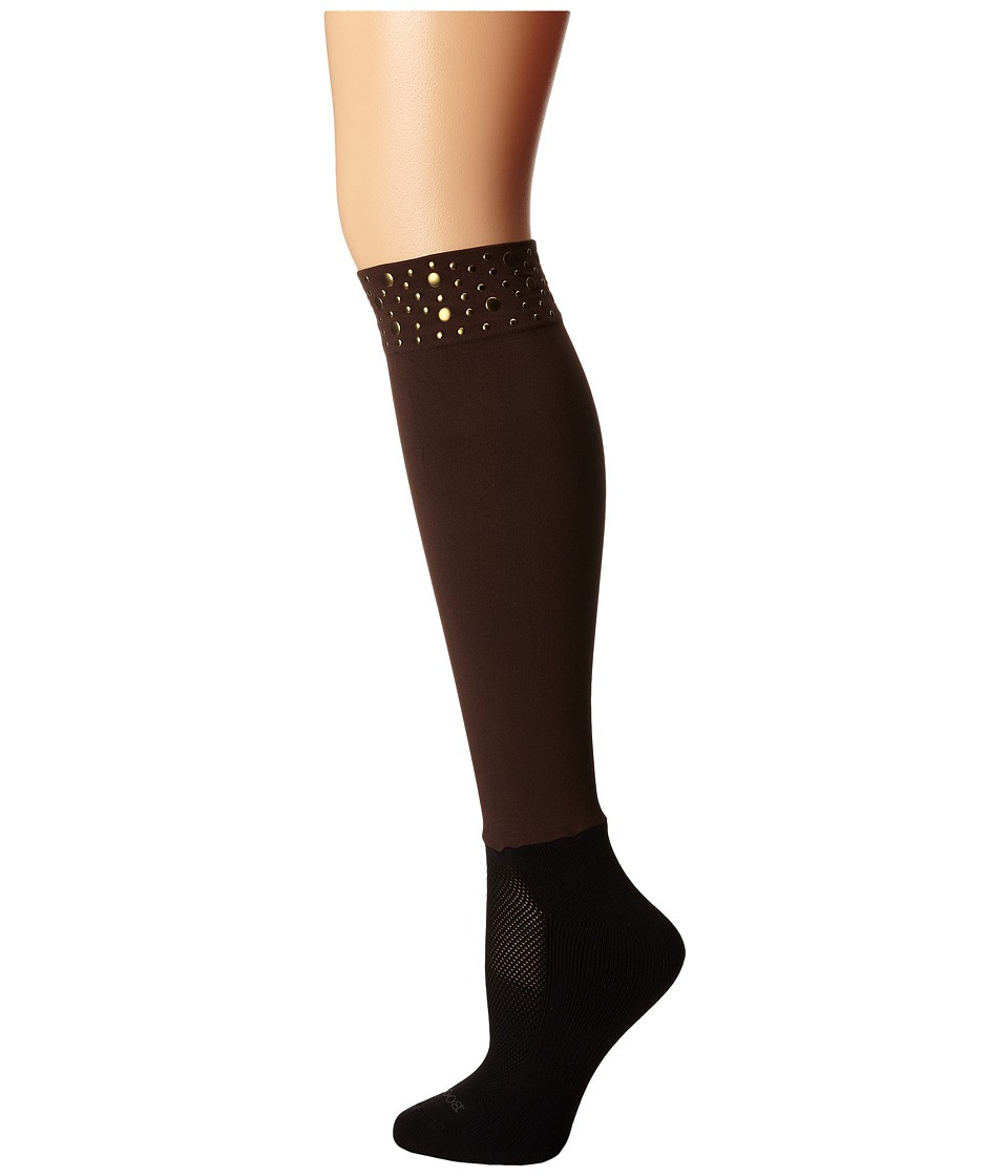 BOOTIGHTS - Nikki Nailhead Darby Brown Womens Crew Cut Socks Shoes $26.00 AT vintagedancer.com