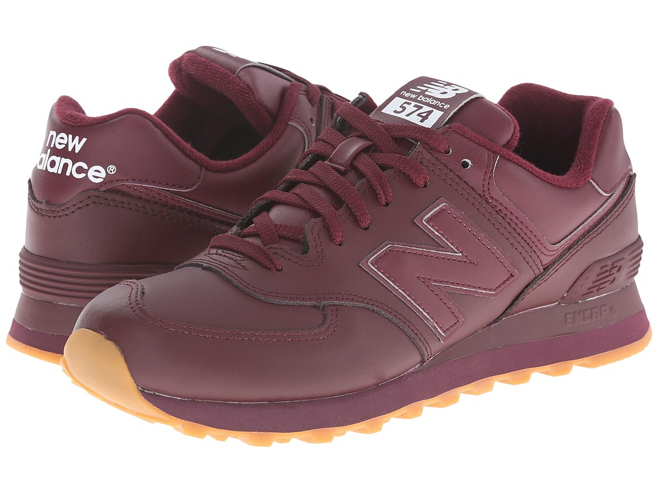 new balance 574 leather burgundy