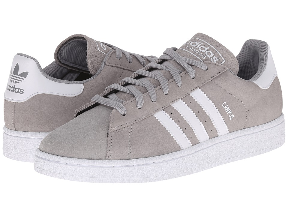 adidas Originals Campus Medium Grey Heather/Solid Grey/White Mens Classic Shoes