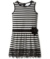 Us Angels - Striped Ponte Tank Dress w/ Ribbon Belt & Lace Trim (Little Kids)