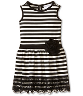Us Angels - Striped Ponte Tank Dress w/ Ribbon Belt & Lace Trim (Toddler)