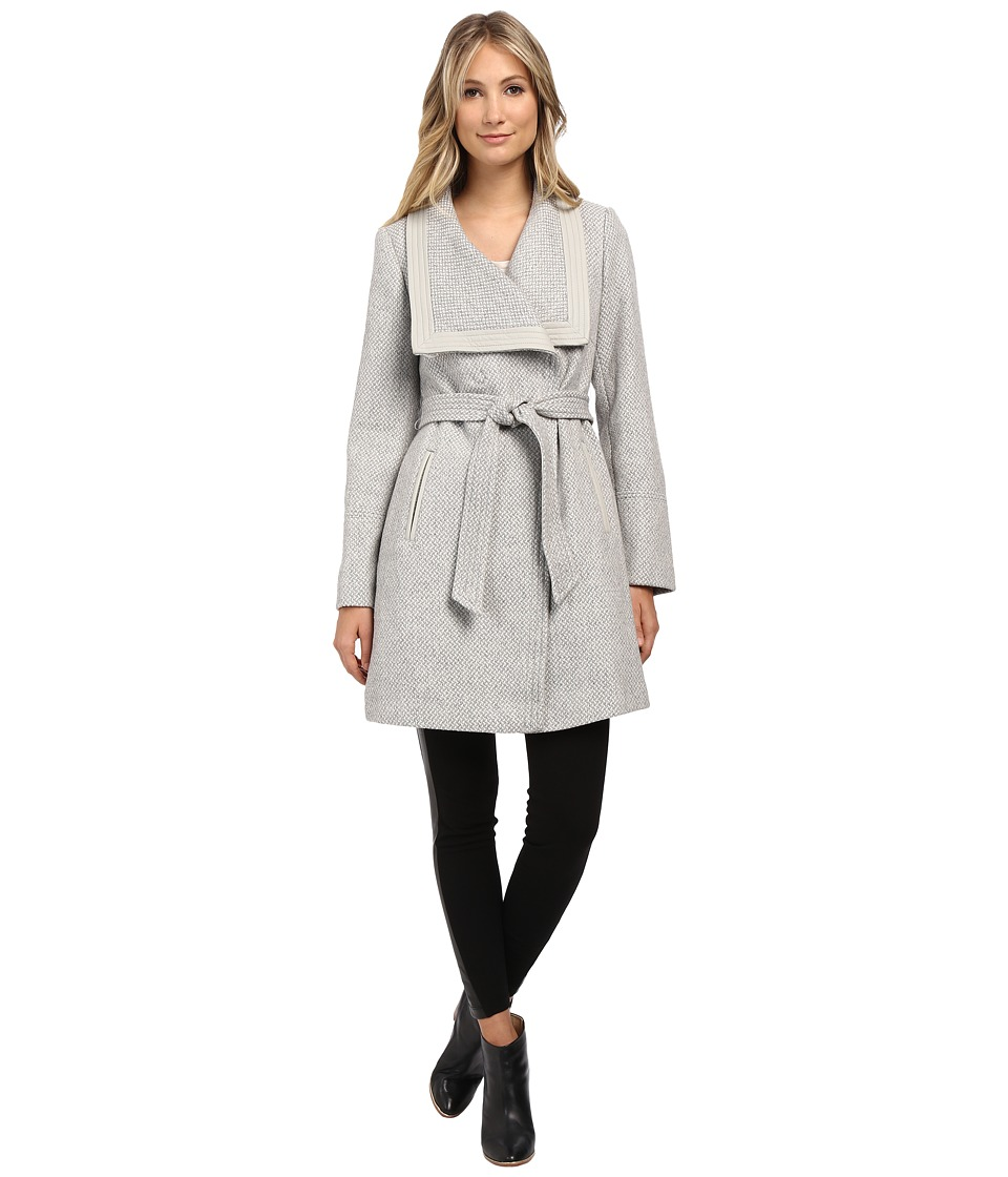 Jessica Simpson Basketweave Wrap Coat Grey Womens Coat