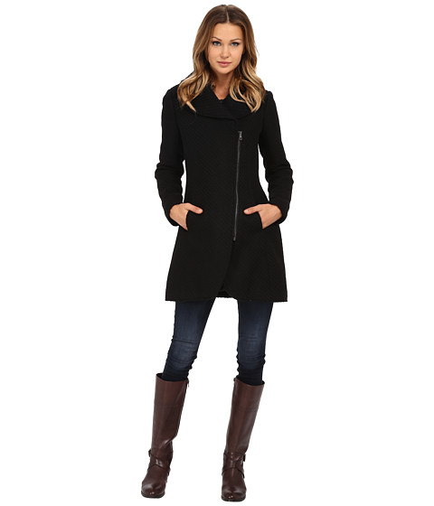 Jessica Simpson Asymmetrical Braided Wool Coat with Shawl Collar