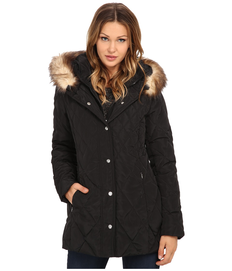 Jessica Simpson - Quilted Down with Faux Fur Trim (Black) Women