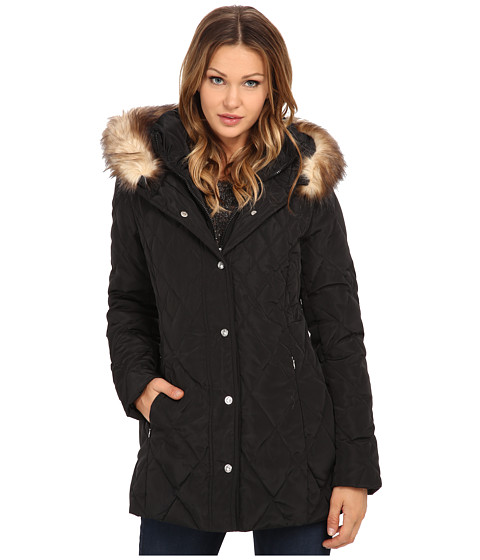 Jessica Simpson Quilted Down with Faux Fur Trim - Black