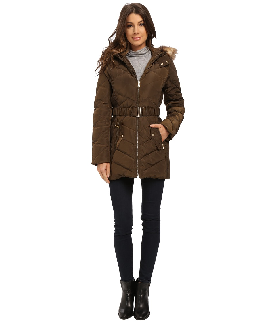 Jessica Simpson - Belted Down with Faux Fur Trim (Military) Women