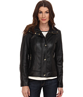 Cole Haan - Single Breasted Half Diamond Quilted Leather Jacket