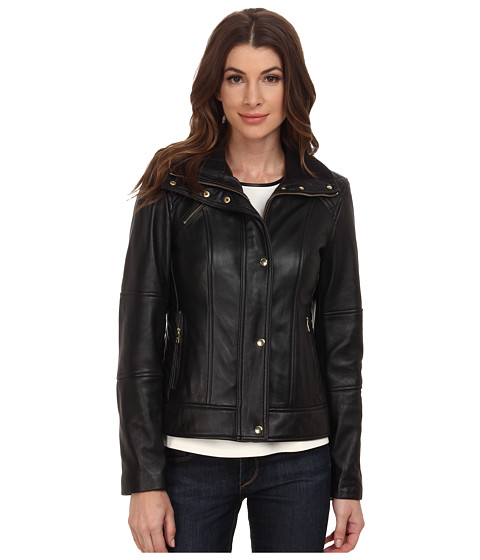 Cole Haan Single Breasted Half Diamond Quilted Leather Jacket
